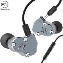 RevoNext QT2 słuchawki douszne metalowe Stereo muzyka słuchawki douszne 3.5mm przewodowe słuchawki hałas izolowanie jakości zestaw słuchawkowy do telefonu komórkowego