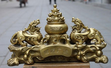 Chinese Pure Brass Feng Shui Lucky Yuan bao Evil Foo Dog Lion Kylin statue(China)