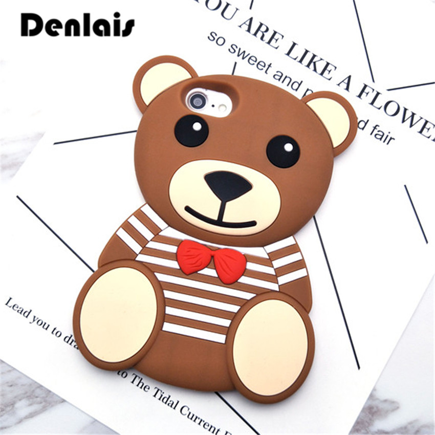 New Cute 3D Teddy Bear Cases Stripe Toy Cartoon Capa Coque Soft Silicone Phone Cases For iPhone 7 7Plus 5 5S SE 6 6S 6Plus Cover