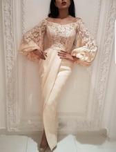 Plus Size Muslim Evening Dresses Mermaid Long Sleeves Lace Slit Islamic Dubai Saudi Arabic Long Evening Gown Prom Dress