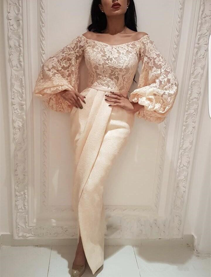 Plus Size Muslim   Evening     Dresses   2019 Mermaid Long Sleeves Lace Slit Islamic Dubai Saudi Arabic Long   Evening   Gown Prom   Dress