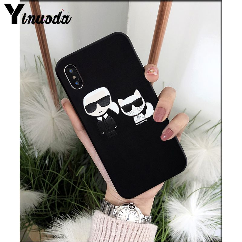 Yinuoda Karl Lagerfeld Newly Arrived Black Cell Phone Case for Apple iPhone 8 7 6 6S Plus X XS MAX 5 5S SE XR Cover in Half wrapped Cases from Cellphones Telecommunications