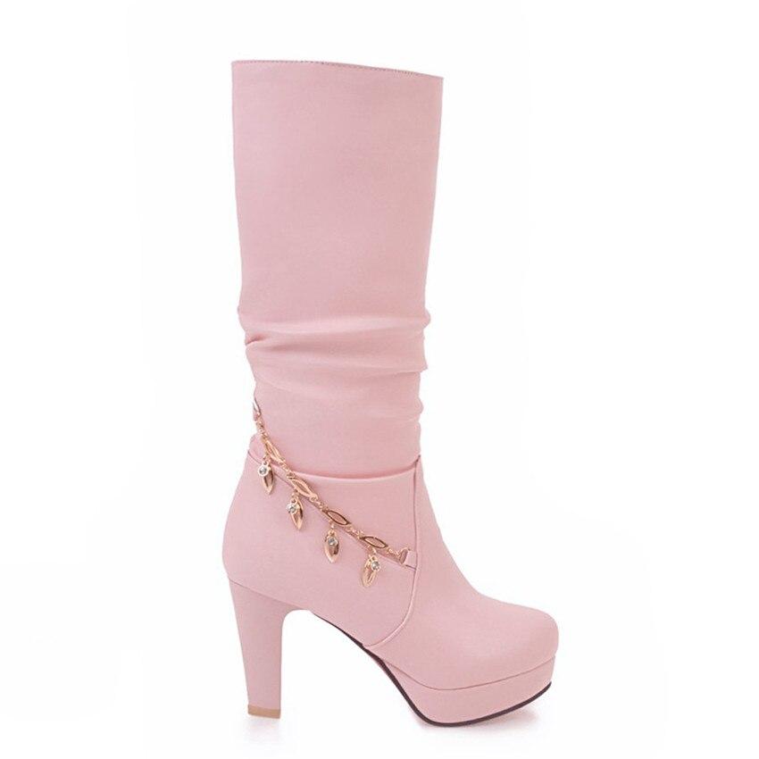 Spring Autumn Woman Platform High Heels Mid Calf Boots Women Short Boots Shoes botas botte femme Plus Size 33 - 40 41 42 43