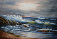 Hand Painted Modern Landscape Seascape Ocean Oil Painting on Canvas Sae Wave Canvas Painting Wall Art Pictures for Living Room