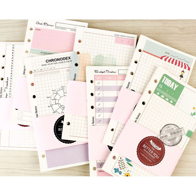 Cute Girly Series Notebook Papers A5&A6 Diary Color Clean Fresh Inner Core Planner Filler Paper Girls Gifts Creative Stationery
