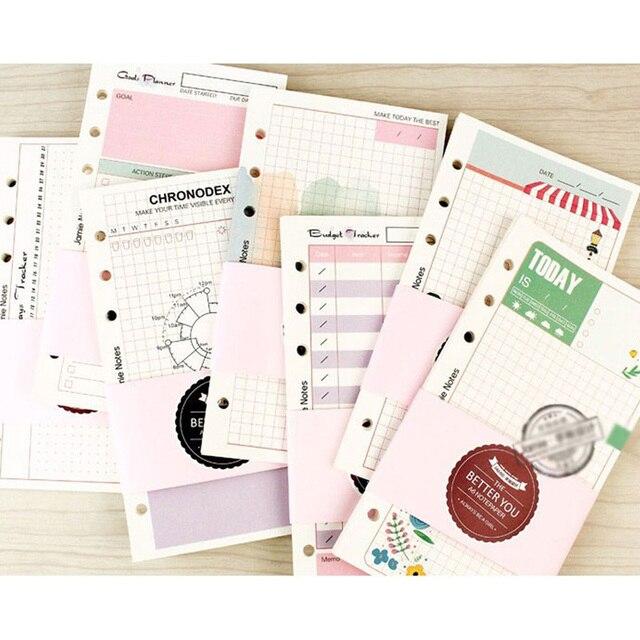 Linda chica serie cuaderno documentos A5 y A6 diario Color fresco y limpio núcleo interno planificador de papel de relleno regalos creativos papelería