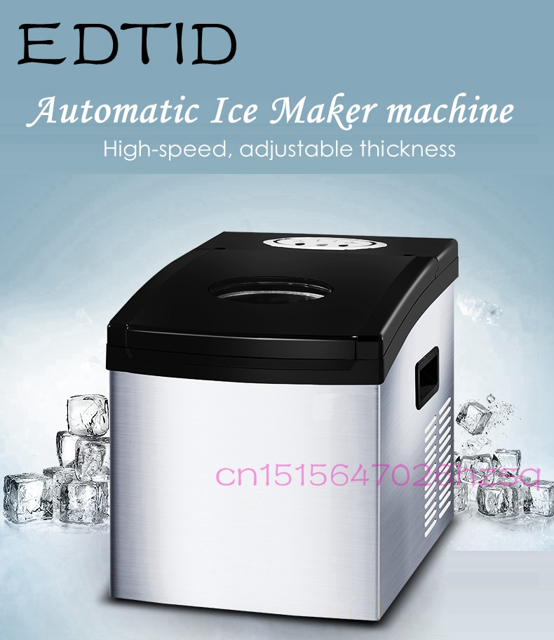 EDTID Automatic Fast Ice Maker machine Commercial Use For Bar Coffee shop Household Eletric Ice Cube Making edtid 12kgs 24h portable automatic ice maker household bullet round ice make machine for family bar coffee shop eu us uk plug