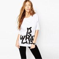 2016 새로운 여성 T 셔츠 편지 인쇄 패션 쿨 스타일 T 셔츠 여성 티 거리 여성 Tshirt 세련된 의류 S-2XL Y0319-39F