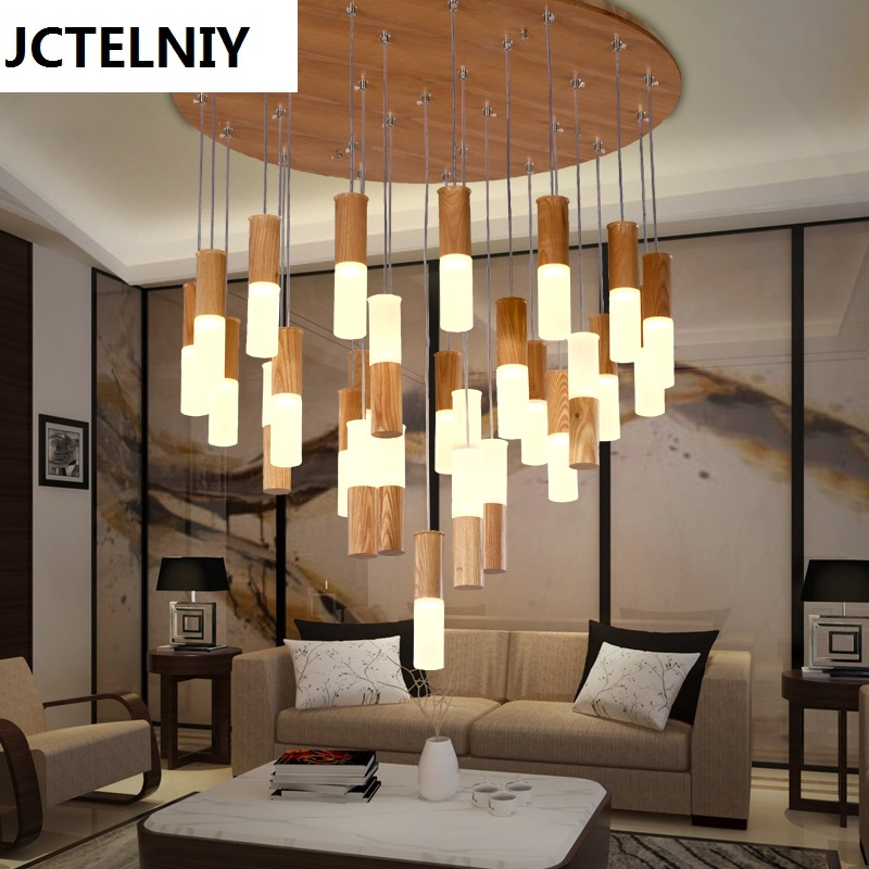 2017 solid wood restaurant pendant light bar stair wooden for Modern living room lighting