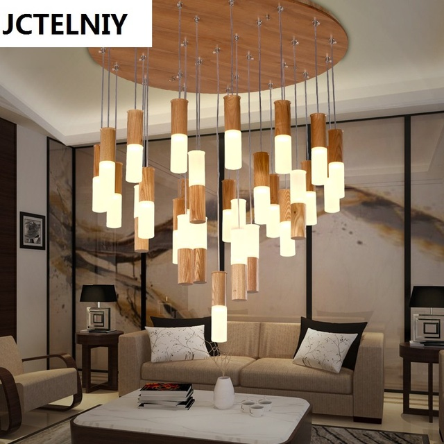 Wonderful 2017 Solid Wood Restaurant Pendant Light Bar Stair Wooden Modern Brief Living  Room Pendant Light Led