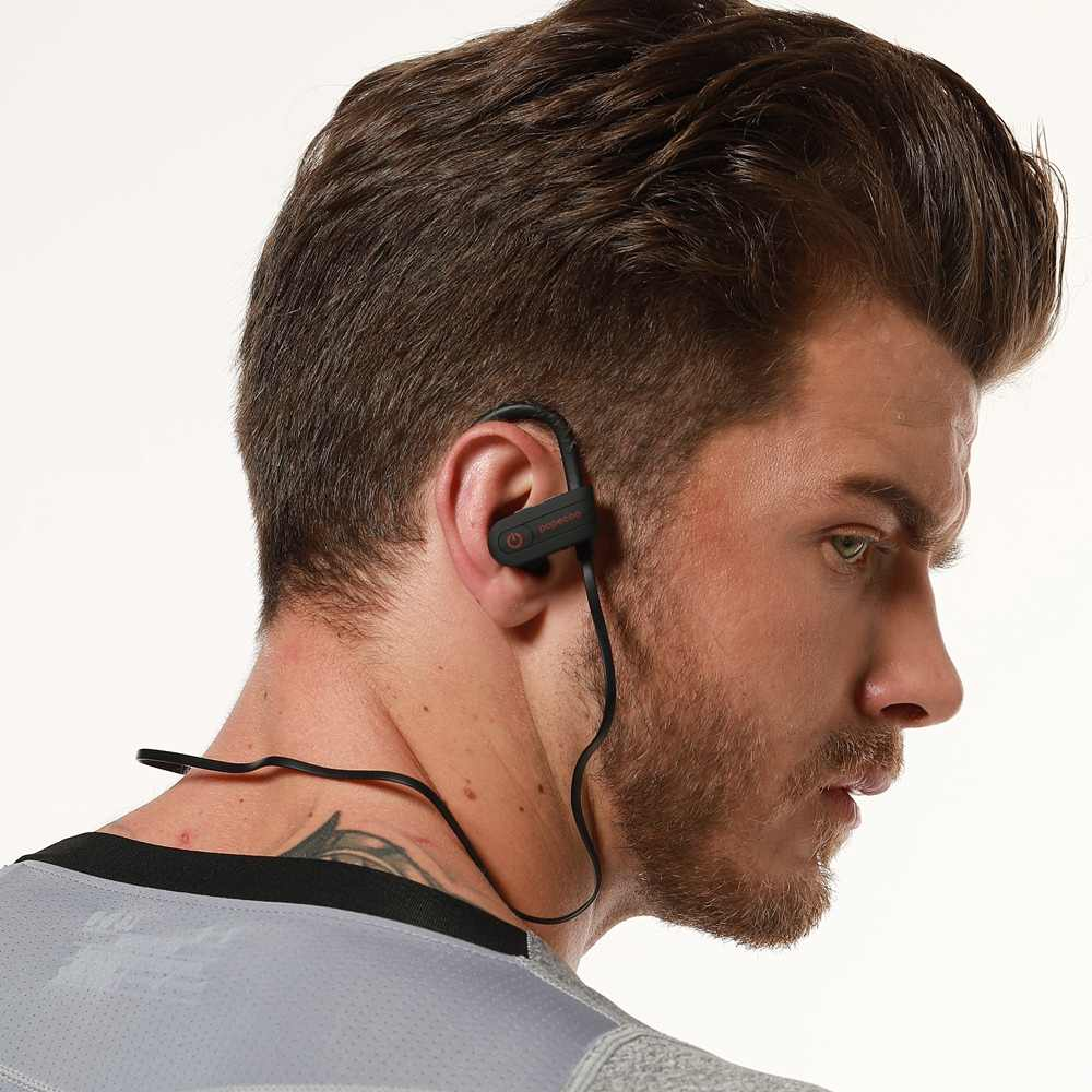 Popecoo الرياضة بلوتوث سماعة IPX5 Sweatproof سماعات رأس لاسلكية الأذن هوك 110mAh ستيريو الصوت سماعة مع HD ميكروفون