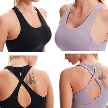 Женская однотонная дышащая приталенная жилетка без рукавов топы на бретелях с нагрудным подкладом для занятий йогой спорта FH99