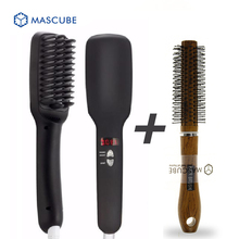 [MASCUBE]Styling Tools Professional Fast Hair Straightener Comb Smooth Brush 2 in1 Anion Hair Straightening Brushes
