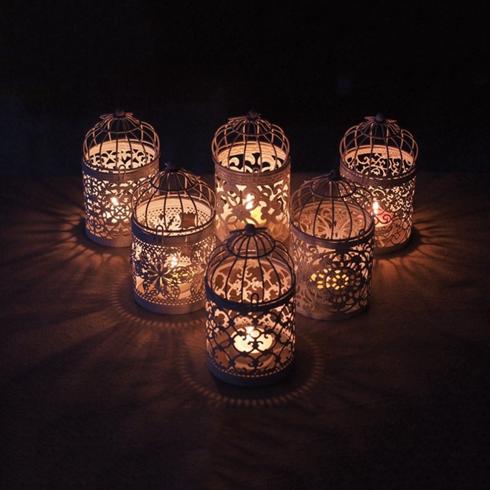 Mirrored Glass Tealight Holder- Wedding Home Decor Gifts Included a White Flameless Tea Light Rhinestone Birds and Birdcage Glass Mirror Design BANBERRY DESIGNS Bird Candle Holder
