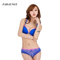PADAUNGY New Sets Of Underwear Bra Set Women Sexy Lingerie Lace Thongs B Cup Front Closure Brassiere Deep V Bralette Push Up
