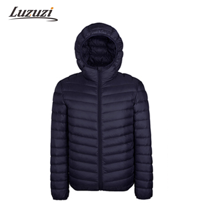 2017 Winter Men Cotton Mens Hooded Clothes Outwear Warm Ultra Light Thin Parkas Coats Black Plus Size Spring WS111 Chemisier