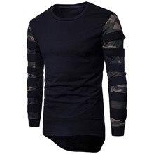 0a13b5e12bdfec Moda męska z długim rękawem kamuflaż netto rękaw pulowerowe topy szwy Crew  Neck swetry jesień zima