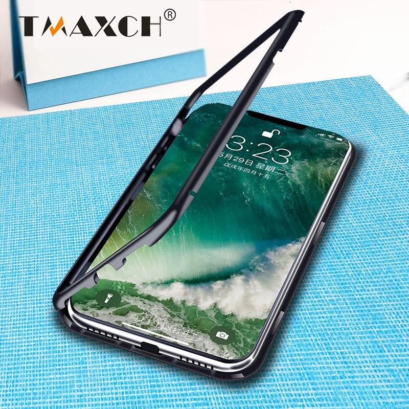 luxury magnetic adsorption metal mobile phone case for iphone X 8 Plus 7 Plus 6s 6 S plus Aluminum Magnet Bumper Tempered Glass