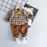 2019 New Baby Boy Casual Dress Plaid Shirt+Pants 2pcs Kids Outfits 0 3 Years Old Cotton Toddler Clothes Brand Boys Clothing Set