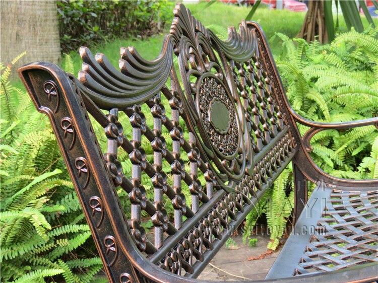 "Купить с кэшбэком 51"" Patio Garden Bench Park Yard Outdoor Furniture Cast aluminum Frame Porch Chair"