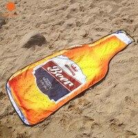 1 шт. 400 г Новый стиль из микрофибры 180*72 см Творческий бутылка пива пляжные Полотенца Бикини Cover Up Пикник Одеяло стены Гобелены yj37