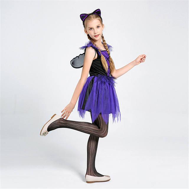 Girls Purple Bat Dress Costume