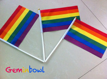50 pcs Rainbow flag Hand Waving Gay Pride LGBT parade Les Bunting 14x21cm
