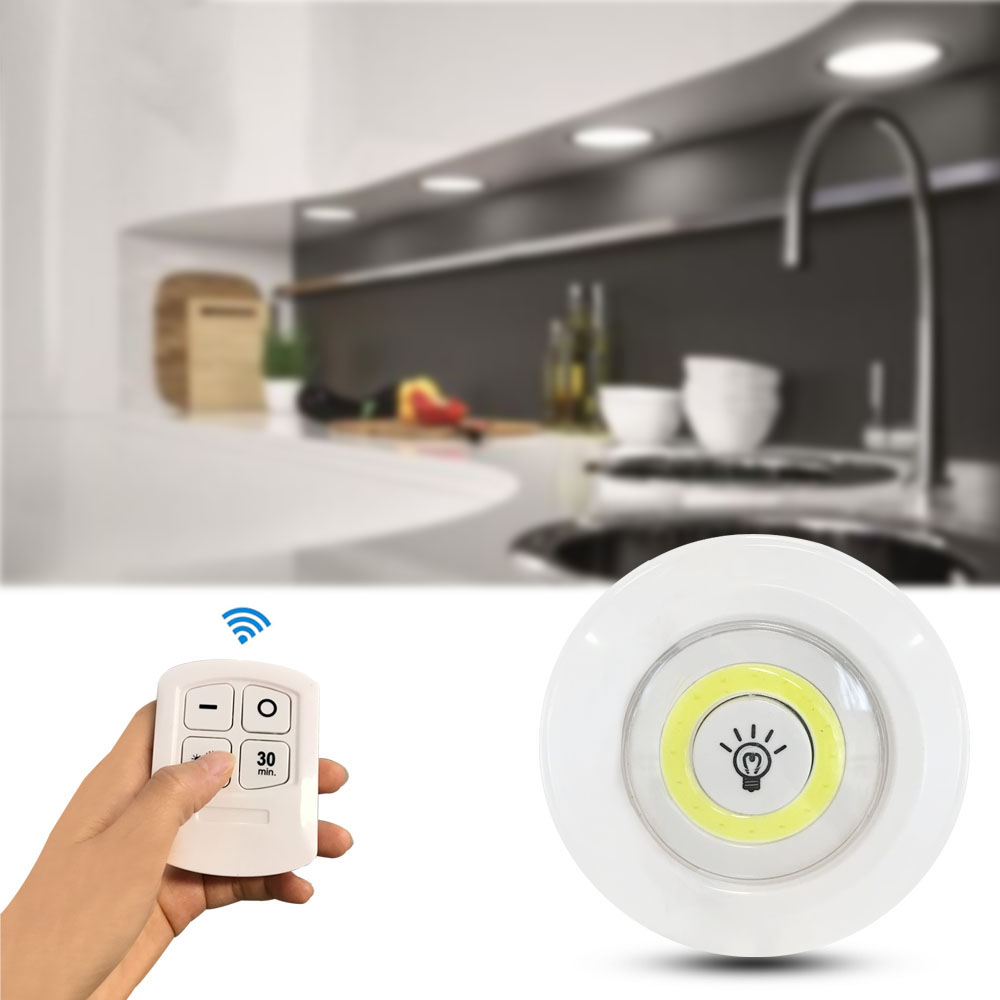 LED Closet Light Dimmable Remote Control Under Cabinet Light Timing Kitchen Cupboard Wardore Lamps Bedroom Night Lighting