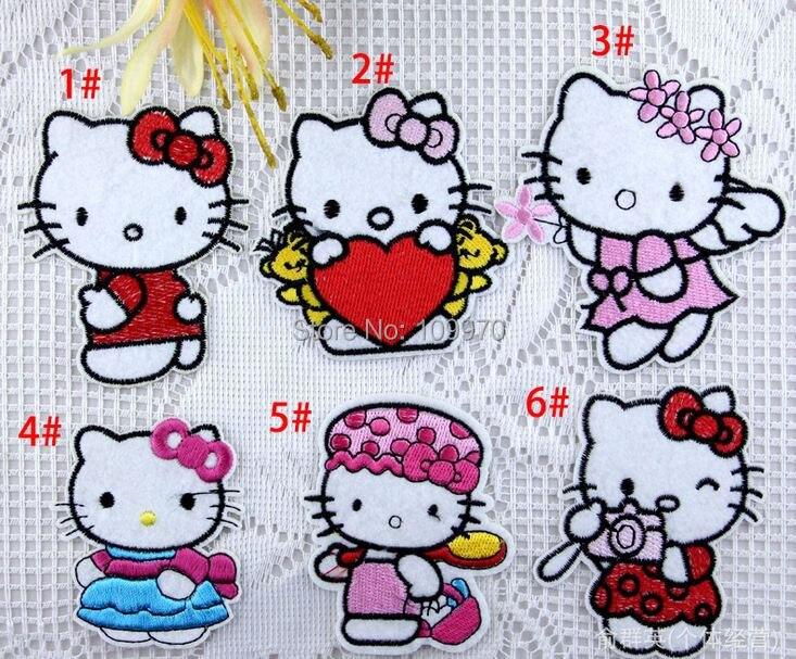 Нашивки Hello kitty с утюгом, нашивки с вышивкой для одежды, железные нашивки на ткани, 550 шт, DHL/EMS
