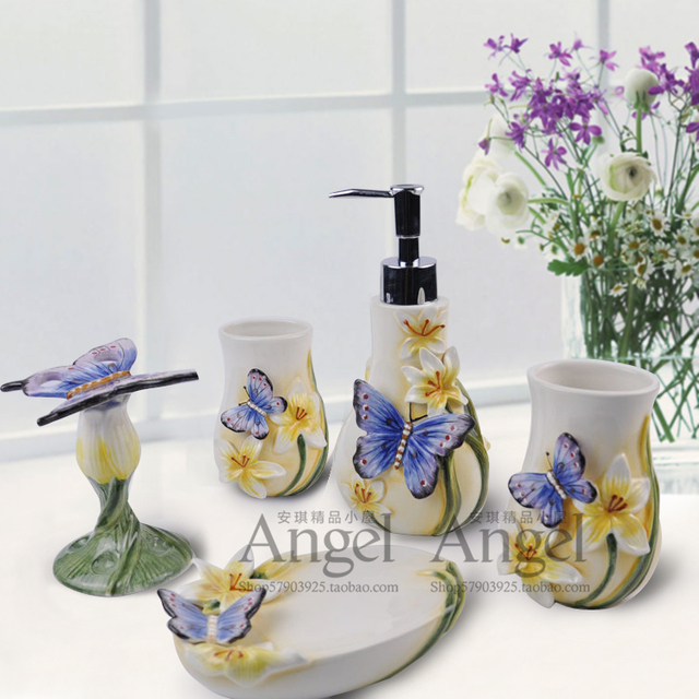 blue butterfly ceramic toothbrush holder soap dish bathroom accessories set kit wedding home decor handicraft porcelain - Bathroom Accessories Kit