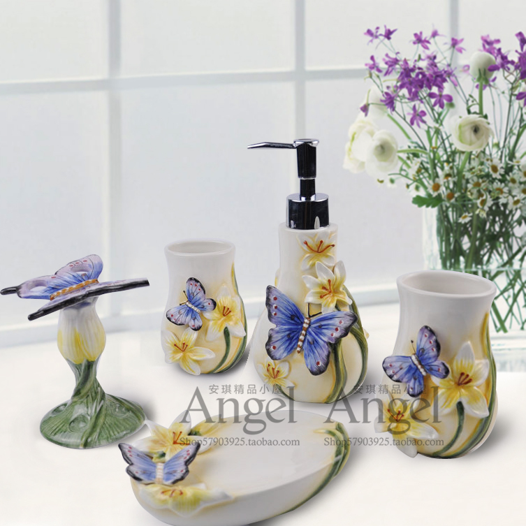 blue butterfly ceramic toothbrush holder soap dish bathroom accessories set kit wedding home decor handicraft porcelain figurine