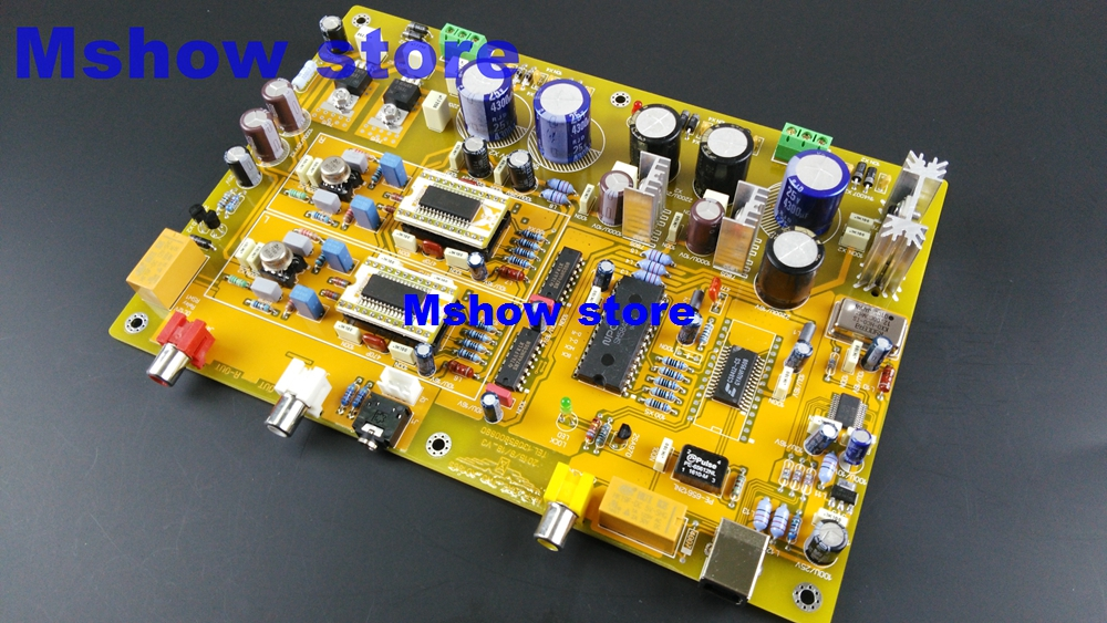 Mshow audio Parallel AD1865 SOIC DAC decoder board Hifi with TO-99 AD711 opamp,coax and USB input ad9764arrl 28 soic