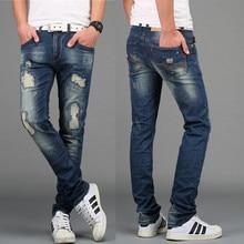 2016 Высокой Моды для Мужчин Тощий Прямо Проблемные отверстий Повседневная рваные джинсы мужчины хип-хоп штаны Узкие джинсы Стрейч