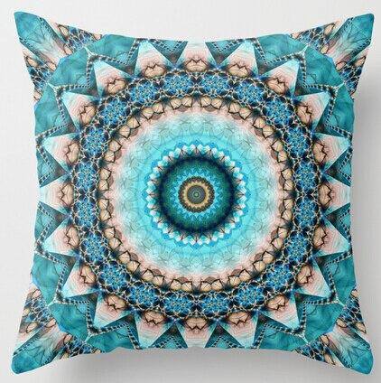 New Arrival Mandala Stone Turquoise Kaleidoscope Tie Dye Luxury Print Square Pillowcases Throw Pillow Sham Cushion Case