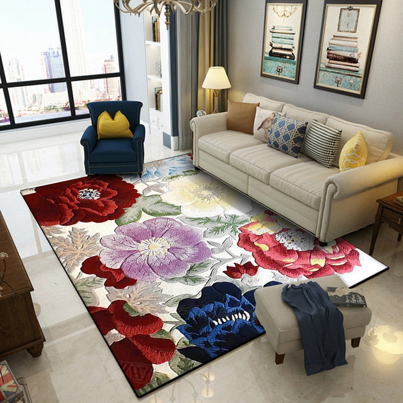 3D Carpet For Living Room Chinese Flower Printed Sofa Large Carpets Bedroom Bedside Balcony Floor Mats Home Decoration Area Rugs