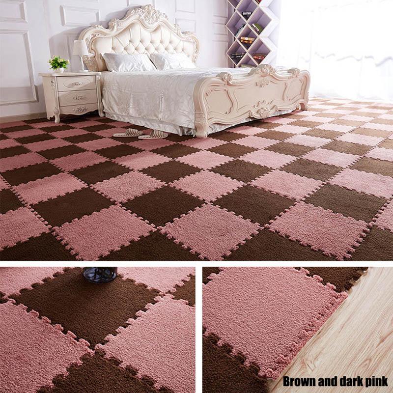 HTB1PM8yKAyWBuNjy0Fpq6yssXXao 10Pcs/1Set 30*30*1cm EVA Plush Puzzle play mats Foam Shaggy Velvet Carpet Decorative Kids Room for Crawling Play Toys 9-Colors