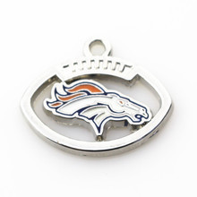 New Arrive 12pcs/lot Alloy Pendant Football Sports Denver Broncos Team Dangle Charms Fit Necklace Floating Charms DIY Jewelry