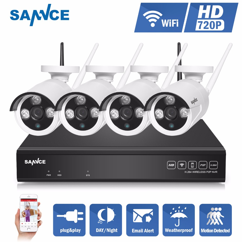 SANNCE 4CH IR HD Home Security Wireless NVR IP Camera System 720P CCTV Set Outdoor Wifi Cameras Video NVR Surveillance CCTV KIT sannce hd 4ch cctv system 1080p hdmi dvr 2pcs 720p 1280tvl cctv ir outdoor video surveillance security cameras 4ch dvr kit
