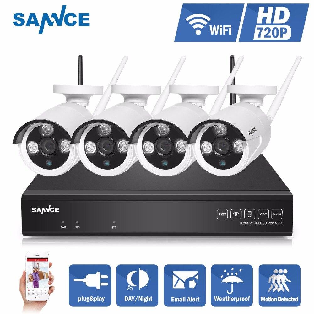 bilder für SANNCE 4CH IR HD Home Security Wireless NVR IP Kamera System 720 P CCTV Gesetzt Außen Wifi Kameras Video NVR Überwachung CCTV KIT