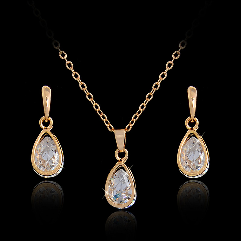 SHUANGR Wedding/Bride noble jewelry Gold Color Womens/Girls CZ Zircon Chain Necklace + Earrings Wedding Jewelry Sets Gifts