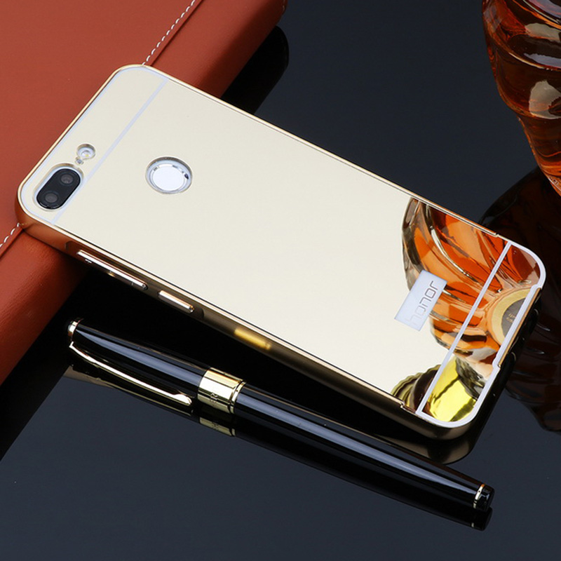 For Huawei Honor 9 Lite Case 5.65 Plating Aluminum Metal Phone Bumper Mirror PC Acrylic Back Cover For Huawei Honor 9 Lite Shell