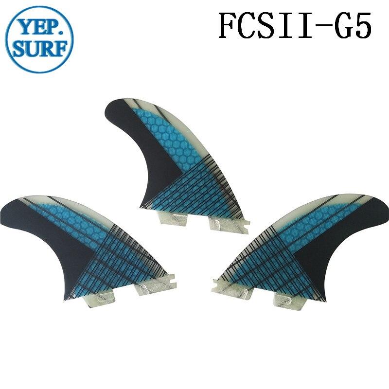 Aileron de planche de surf FCS2 G5 ailerons en nid d'abeille ensemble à trois ailerons FCSII G5 base en fibre de verre 3 pièces par ensemble - 3