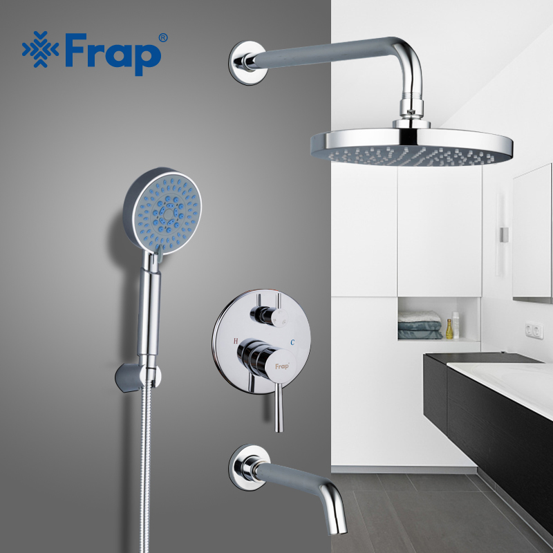 Frap bathroom Shower Faucet round ABS Shower Head Bath Shower Mixers set with Handshower Wall Mount Shower system Arm Y24011