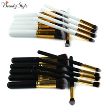 10pcs Make-up Professional Soft Cosmetics Brushes Eyebrow Shadow Face Makeup Powder Brush Set Tools Kit Kryolan Black / White