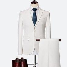 Hot Top EU Designer 2018 Men's Fashion Slim Two Buttons Solid Suits Business Formal Groomsman Suit Blazer Jacket Trousers Sets