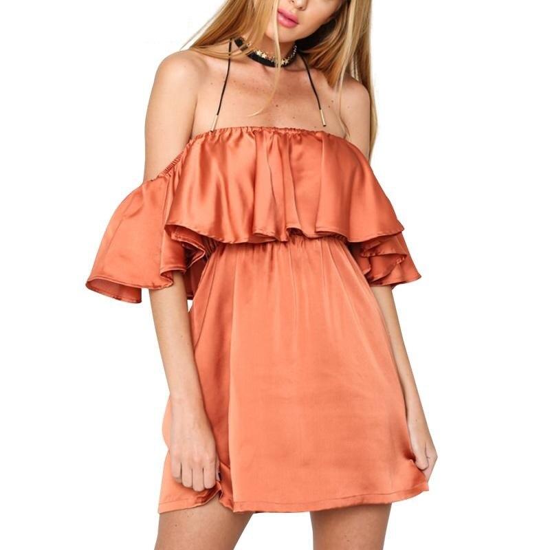 06d407178bc2 Aliexpress.com   Buy Satin Ruffle Off Shoulder Summer Autumn Dress Women  Elegant High Waist Beach Dress Sexy Slash Neck Dresses 2016 Glossy from  Reliable ...