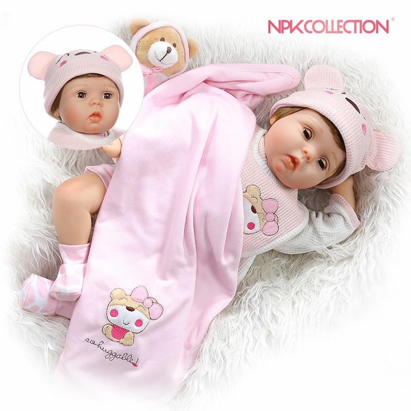 NPKCOLLECTION 55CM soft body bebe doll reborn baby soft silicone doll eyes blink sweet girl baby
