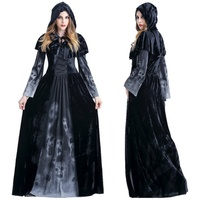 Halloween Victorian Dress Cosplay Costumes Scary Vampire Witch Clothes Women Medieval Masquerade Costume Ghost Fancy Maxi Dress