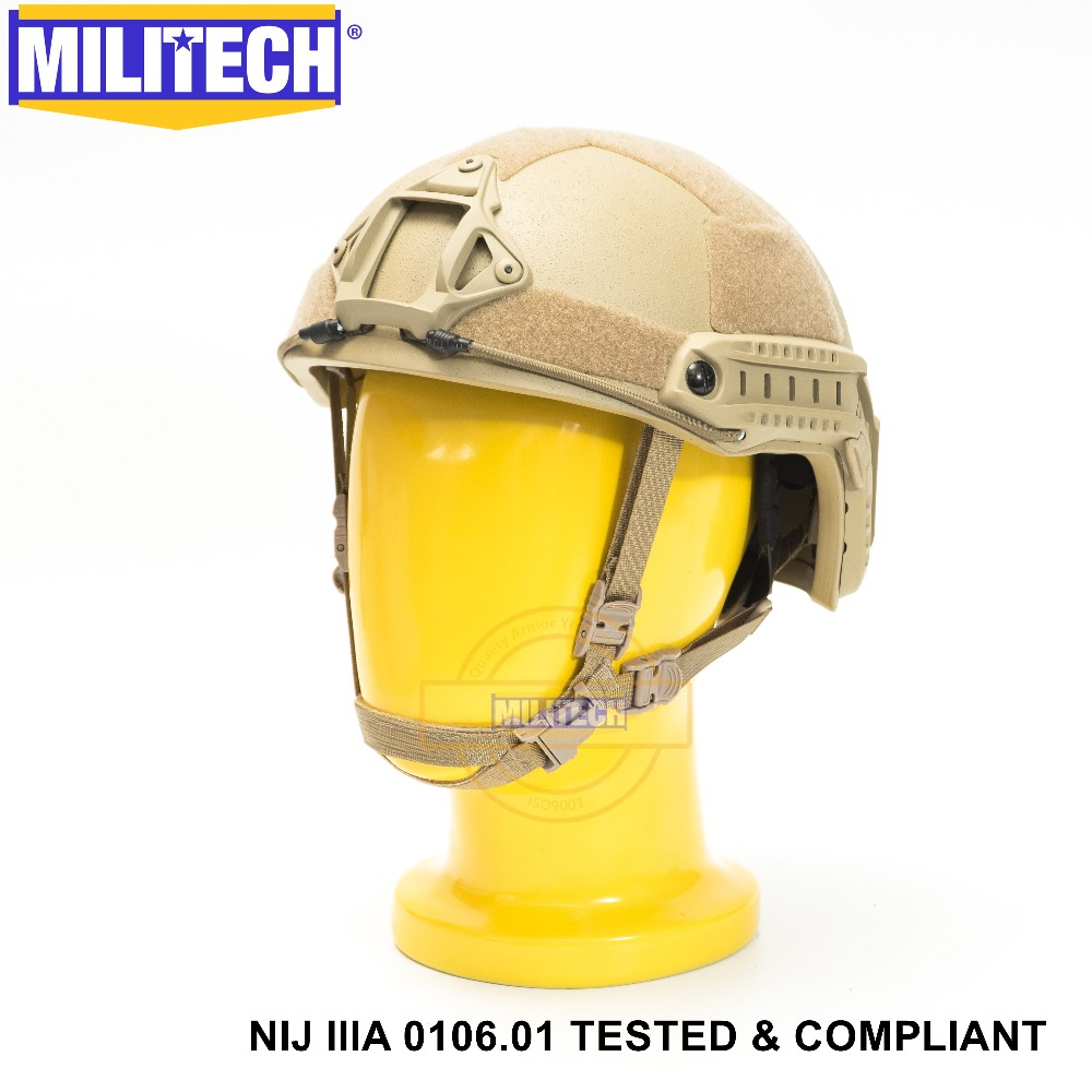 ISO Certified MILITECH DE NIJ Level IIIA 3A FAST OCC Liner High XP Cut Bulletproof Aramid Ballistic Helmet With 5 Years Warranty