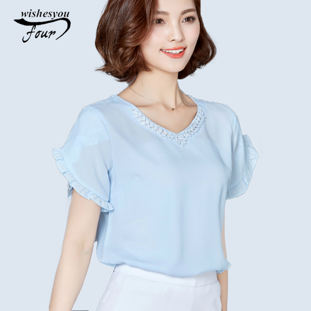 76403f815b033 Summer New Arrival Fashion Flounce Short Petal Sleeved Shirt tops 2017 Women  V-collar Solid sweet Casual Female Blouse 17B 25